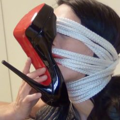 Boots in female bondage: louboutin vs. Doc martens - Sandra gets gagged and blindfolded with ropes