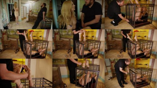 Metal bondage - Slave Ariel Anderssen in cage with iron legs -  Buying Shoes - Part Three
