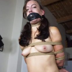 Drooling - Bound Elise Graves into a secure box tie with a tight neck rope - Suffering for You -Rope bondage
