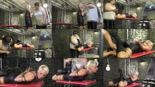 Extreme bondage - Live event Hogtie challenge for bondage beauty Lena King with ropes tighly - Rope bondage