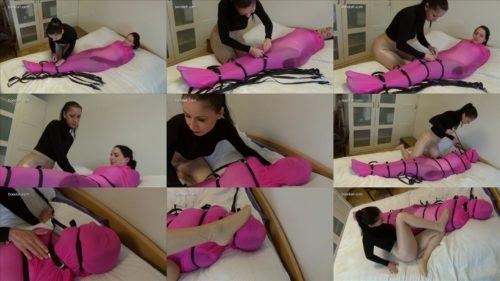 Female bondage - Paula is encased in pink soft nylon brings - Bondage play - Sexual thought