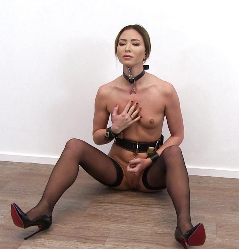 Belt bondage - Beautiful Natalia Forrest with leather collar vs the heretic fork - Leather Bondage
