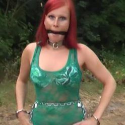 Metal bondage - Nastasia is testing the new chains in the forest