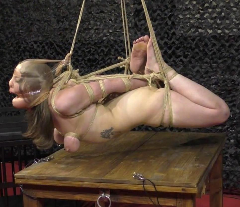 Crazy flying Hogtie Challenge - Our British extreme bondage girl is back for an new Hogtie Suspension - Orgasm play in public