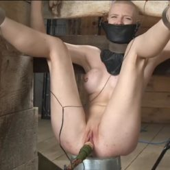 In HELL! - Poor Rachel Greyhound Gets Electric Toes - BrutalMasters bound and connects metal clamps to Greyhound in collar