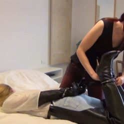 """Anna is hogtied with cuffs and ballgagged. Sexy girl in thighboots and operagloves - """"Damsel in distress"""" session"""