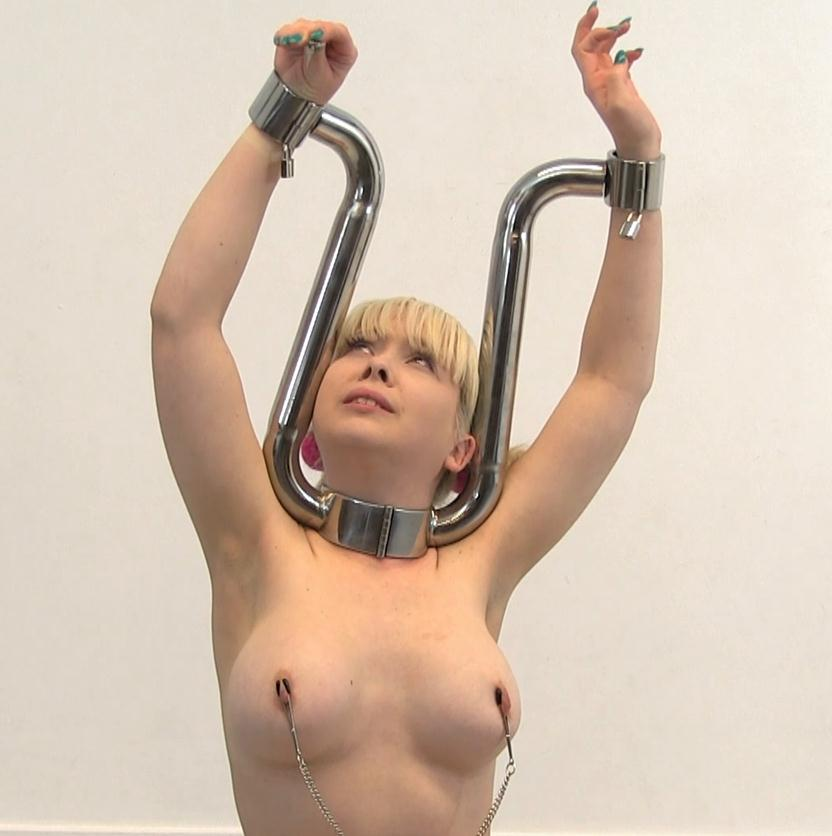 Metal Bondage - Cherry English is tied up with nipple clamps in a nice ballet pose - Ballet Stocks