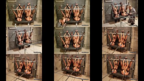 Extreme bondage - Sandra Silvers and Amanda Foxx captured in stockings and spread in steel device