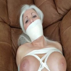 Rope bondage - Milf Sandra Silvers is bound with ropes and microfoam tape, gagged, bagged for transportation - Scratchy crotch rope digs