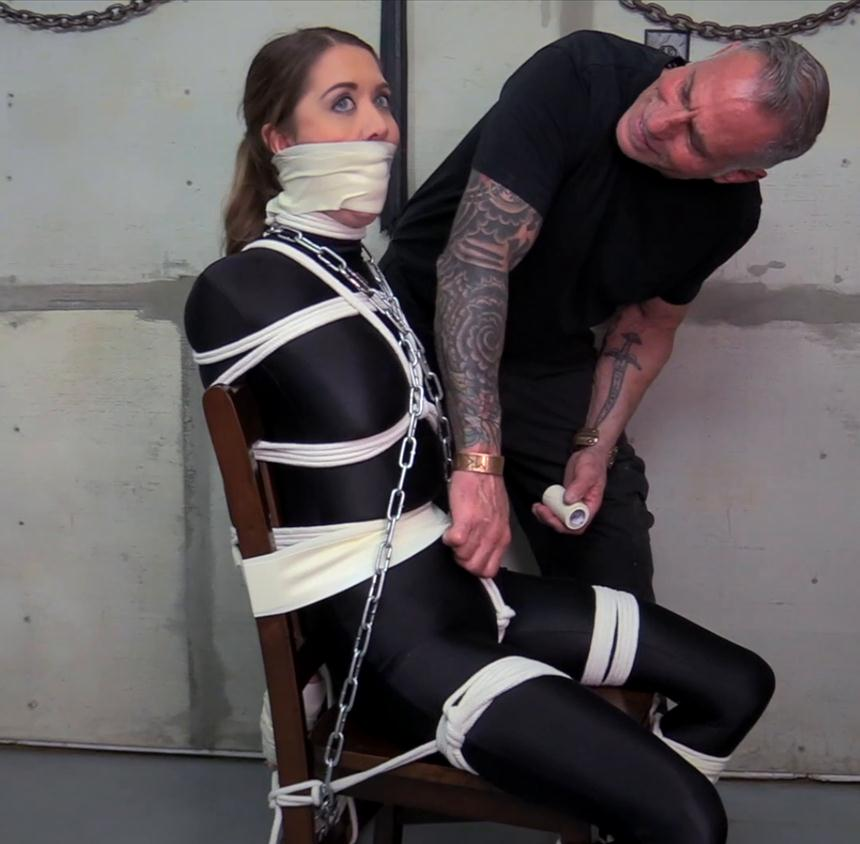 You Can't Be Too Careful When Dealing With Chrissy Marie! - Bound Chrissy is gagged and microfoam tape wrapped -Rope bondage