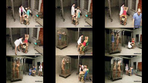 Sandra, Caroline, Lisa, Salena – a trio of caged cuties in clubwear endure orgasm torment in medical chair - Extreme bondage