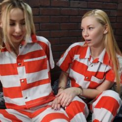 Prisonteens officer Lisa and in mate Summer with a new jumpsuit, lock box, waist chain, and leg shackles in her cellPart 3 of 3
