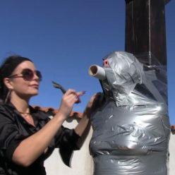 Mummification bondage - Rachel Adams is mummified outdoors with tape - Female bondage - Outdoor bondage