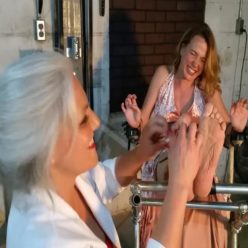 Bondage Tickle Torment - Sandra SIlvers and Jackie Christianson – Hysterically loud laughter in ungagged - Barefoot