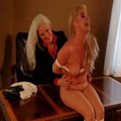 Rope bondage - Milf lesbian boss Sandra Silvers tickles her naked,bound and submissive secretary Whitney Morgan - Lesbian bondage