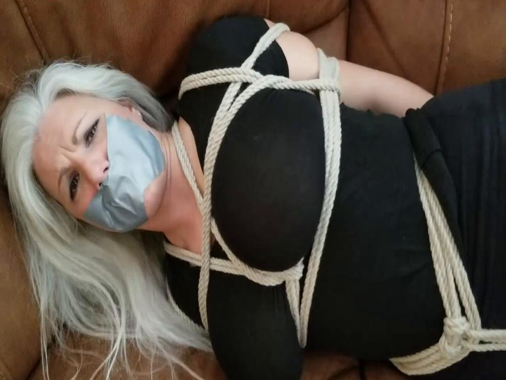 Sandra Silvers is groping and rope bondage and used duct tape to gag the gal - POV - Rope bondage