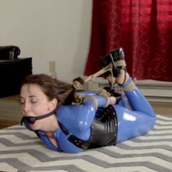 Tight Bondage - Nichole Skye in blue catsuit and tight jute hairtie and bound with rope - Hogtie - Rope bondage