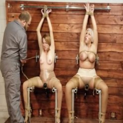 Predicament of purpose - Milfs Sandra Silvers and Jackie Christianson is cinched to steel tightly with ropes and kept cumming - Rope bondage