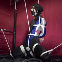 Shinybound Lydia Black is tightly bound and panel gagged and helpless - Bound Orgasms