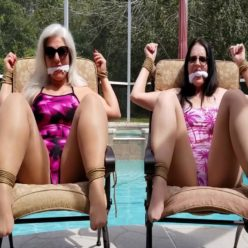Rope bondage - Milfs Sandra Silvers and Christina Sapphire are bound and gagged by the pool