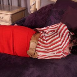 Gagged JJ Plush with red ballgag . She is hogcuffed, hogtied with ropes. What's going on here?