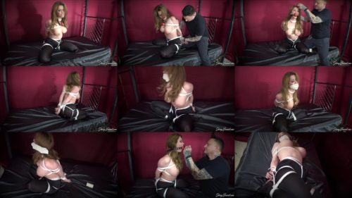 Sexy Emily Addison is snatched and tied up tightly in his dungeon with rope - Gag Talk