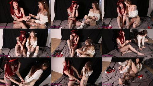 Little Devil and Angel are cuffed each other - Playing witn handcuffs
