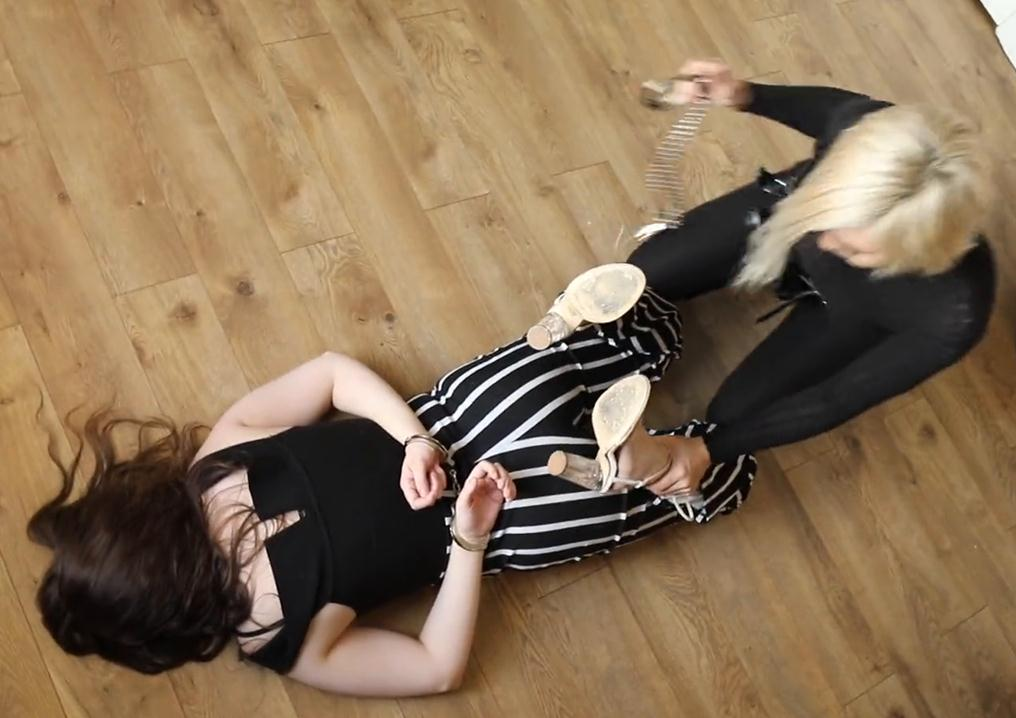 Metal bondage - Saved by secret agent Misty - Maggie locked up in shackles, a waist chain, and handcuffs