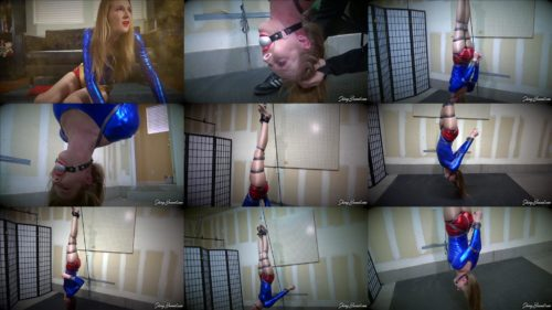 Shinybound Ashley Lane  is bound and hanging upside down - UltraGirl Vs The Black Cat Part 2