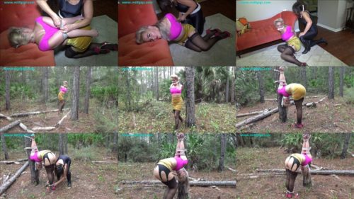 Terror in the woods - Whitney Morgan is bound in a brutally tough upside down strappado - Rope bondage