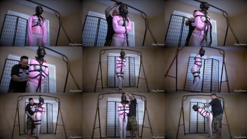 Leather Bondage - Luci Lovett  is helpless blindfolded and strapped up tight in her straightjacket
