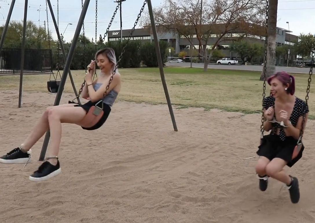 Handcuffed Kaitlynn Day and Daisy – A Day in the Park