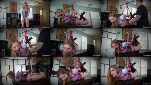 Dresden - Domme is  tightly hogtied on the table and gets owned  - Rope bondage