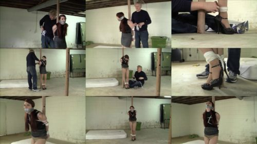 Rope bondage - Gianna Love is tied to a pole with white ropes – Captured spy is transferred to the basement