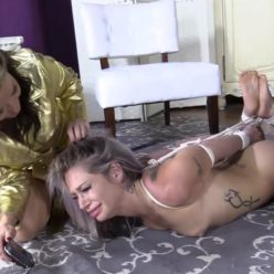 Female bondage - Nude Adara Jordin is tied to a post with rope – Daddy doesn't love you
