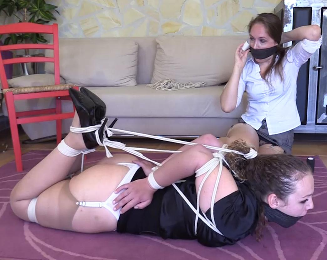 Diamondly is tied in a chair with ropes - Female bondage