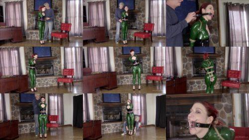 Constance Bondage – Green latex catsuit and jute rope  for bondage play- Latex bondage
