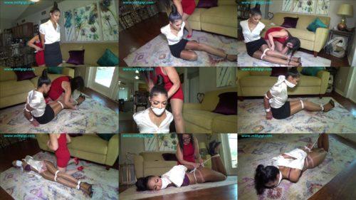 Female bondage - Ebony rookie secretary Honey Dew is  bound and gagged - Fabulous the white rope
