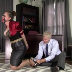 Very awkwardly bound positions - Pepper Sterling Bondage: Secretary tries to take charge - Rope bondage