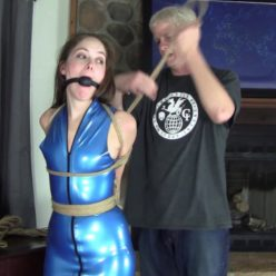 Rope bondage - Rachel Adams is bound and dagged wears blue latex and lots of jute rope - Left to balance
