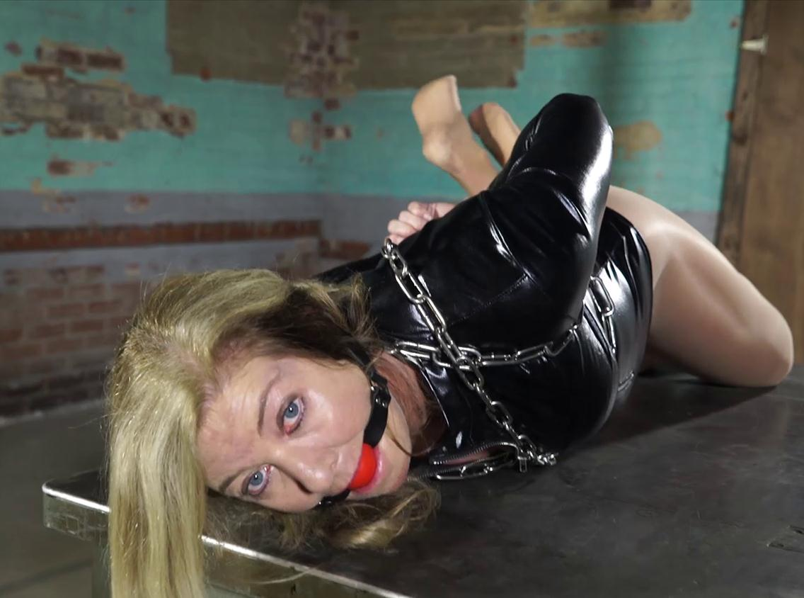 Metal bondage for milfy Dakkota with mitts, stocks, chains and cuffs - A lot more metal