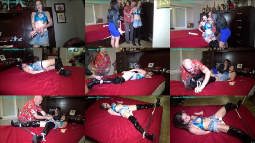 Rope bondage - Dacey Harlot  is bound too tight with rope - No control over the situation