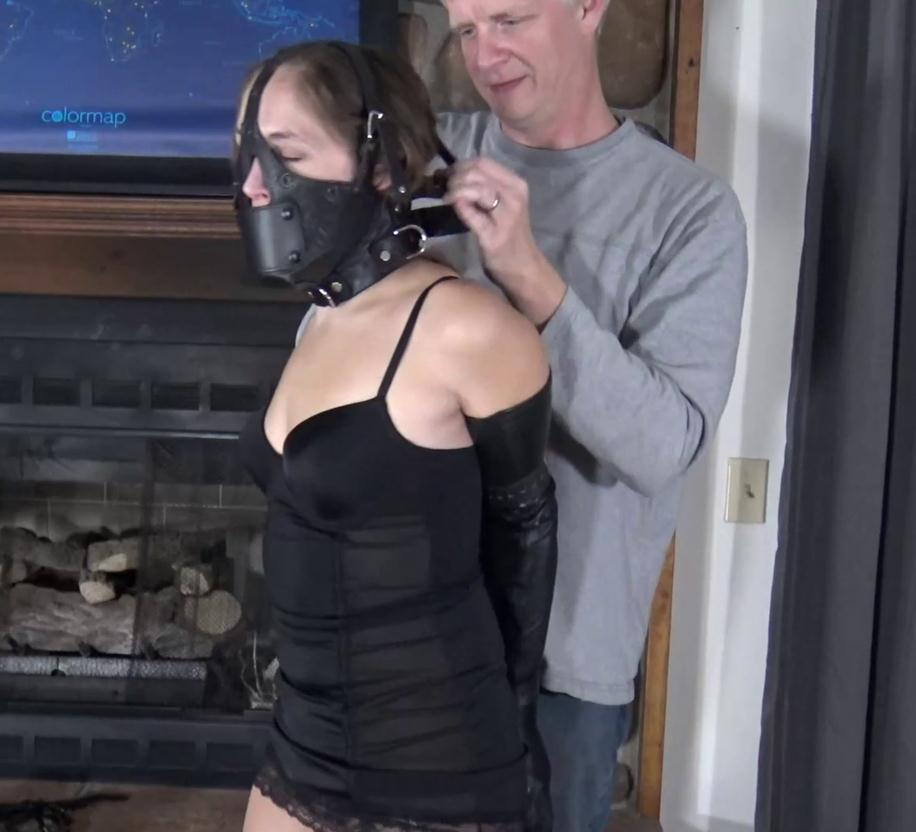 Rachel Adams is bound with rope in sexy lingerie and leather devonshire harness gag - Leather Bondage: Damsel for the Night