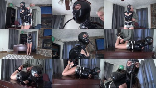 Arielle Lane is bound tightly latex hogtie and gagged with a pump gag by Mr. Big Boss - High latex fetish