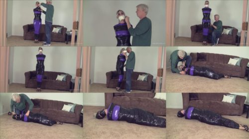 Mummification Bondage for Claire D'Lune – Claire is extreme bound with microfoam tape in purple hobble dress