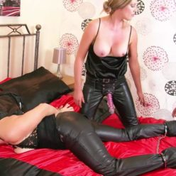 Metal bondage - Jasmine and Holly teach Victoria a lesson – Blonde in leather used as fuck toy! - Playing with handcuffs