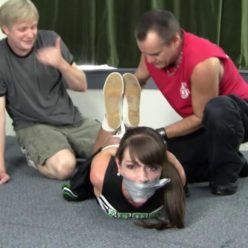 Rope bondage - Elizabeth is gagged and ton of rope waiting on her – Captured Cheerleader Collectors