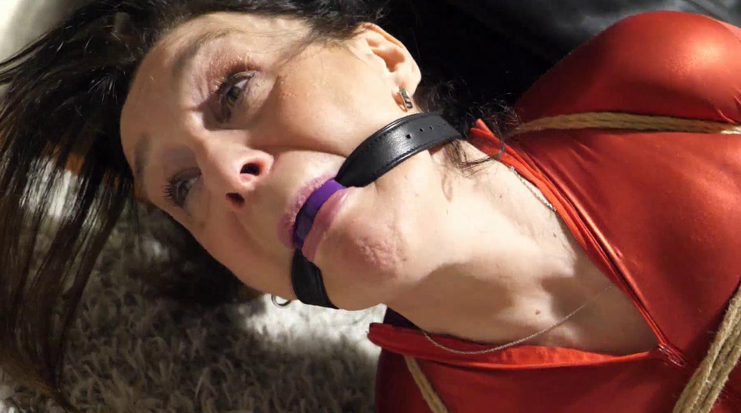 Rope bondage - Layla tied up and enjoys ropes in red catsuit – Bondage addiction - In a strict hogtie
