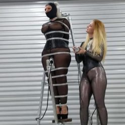 Metal bondage - Slave Sandra Silvers is strapped to steel as Luscious lesbian milf Domina delivers device bound orgasms - Lesbian bondage