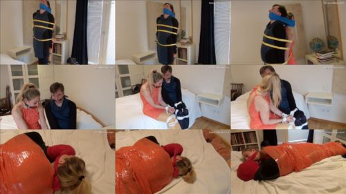 Mummification bondage - Three scenes from a bound couple together with cargostraps - Rope bondage